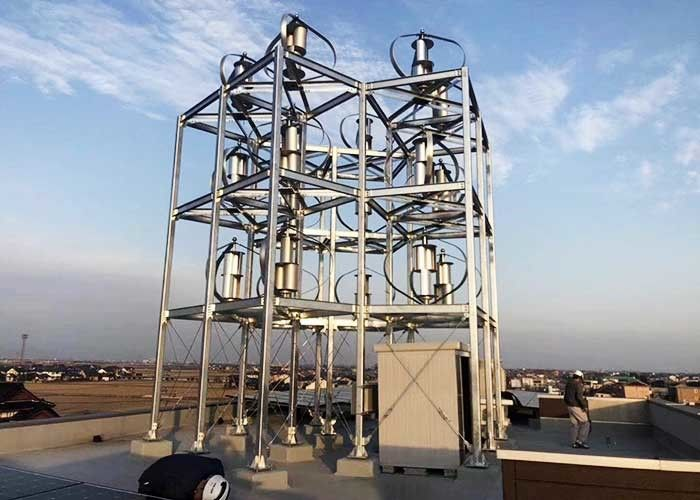 Rooftop Solar Wind Hybrid System / Vertical Axis Wind Turbine With Solar Panel